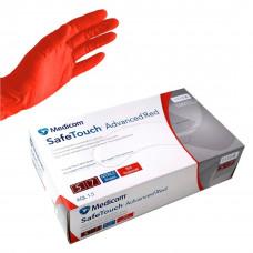 Перчатки смотровые нитриловые текстурированные без пудры нестерильные (размер XL) (50 пар) красные